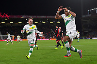 Felix Passlack of Norwich City left goes to celebrate as goalscorer Onel Hernandez of Norwich City prepares to do a somersault during AFC Bournemouth vs Norwich City, Caraboa Cup Football at the Vitality Stadium on 30th October 2018