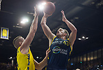 13.01.2019, EWE Arena, Oldenburg, GER, easy Credit-BBL, EWE Baskets Oldenburg vs Alba Berlin, im Bild<br /> unter dem Korb<br /> Rasid MAHALBASIC (EWE Baskets Oldenburg #24 ), Karsten TADDA (EWE Baskets Oldenburg #9 )<br /> Luke SIKMA (Alba Berlin #43 )<br /> Foto © nordphoto / Rojahn