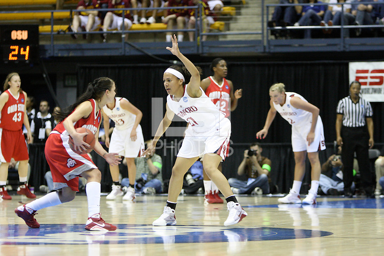 BERKELEY, CA - MARCH 30: Ros Gold-Onwude plays hard-nose defense during Stanford's 84-66 win against the Ohio State Buckeyes on March 28, 2009 at Haas Pavilion in Berkeley, California.