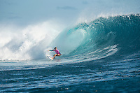 Namotu Island Resort, Nadi, Fiji (Monday, May 30 2016): Sally Fitzgibbons (AUS) - The  2016 Fiji Women's Pro commenced at 9 am this morning in clean 3'-4' building swell at Cloudbreak. Rounds 2,3and 4  was completed as the swell built through the afternoon. There were strong Trade winds in the afternoon as well making the waves a bit choppy. Photo: joliphotos.com