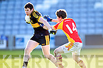 David O'Leary, Dr. Crokes in action against Tom King, in the All Ireland Senior Club Semi Final at Portlaoise on Saturday.