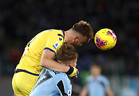 Football, Serie A: S.S. Lazio - Hellas Verona, Olympic stadium, Rome, February 5, 2020. <br /> Hellas Verona's Amir Kadri Rrhamani (l) in action with Lazio's Ciro Immobile (r) during the Italian Serie A football match between S.S. Lazio and Hellas Verona at Rome's Olympic stadium, Rome, on February 5, 2020. <br /> UPDATE IMAGES PRESS/Isabella Bonotto