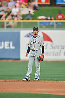 Javy Guerra (5) of the El Paso Chihuahuas on defense against the Salt Lake Bees at Smith's Ballpark on August 13, 2018 in Salt Lake City, Utah. Salt Lake defeated El Paso 4-3. (Stephen Smith/Four Seam Images)