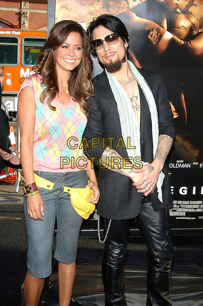 """BROOKE BURKE & DAVE NAVARRO.""""Batman Begins"""" Los Angeles Premiere held at Grauman's Chinese Theatre, Hollywood, CA.June 6th, 2005.Photo credit: Jacqui Wong/AdMedia.half length sleevless top argyle bum bag tattoos sunglasses shades scarf cropped three quarter length trousers black leather trousers fanny pack .www.capitalpictures.com.sales@capitalpictures.com.© Capital Pictures."""