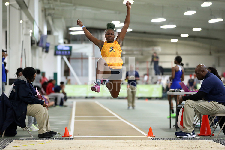 WINSTON-SALEM, NC - FEBRUARY 07: Nevaeh Posey of Columbia International University competes in the Women's Long Jump at JDL Fast Track on February 07, 2020 in Winston-Salem, North Carolina.
