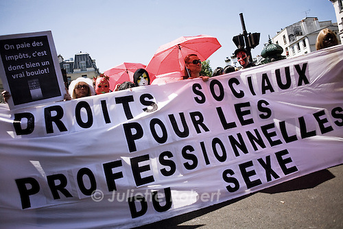 Protest of the Sexual Workers Syndicate in Paris, june 2nd 2011.<br /> <br /> Manifestation du Syndicat du travail sexuel (strass) et des prostitue(e)s a Paris le 2 juin 2011