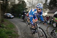 Nico Sijmens (BEL) leading the race by 45 seconds over the peloton on the Côte de la Roquette<br /> <br /> GP Le Samyn 2014