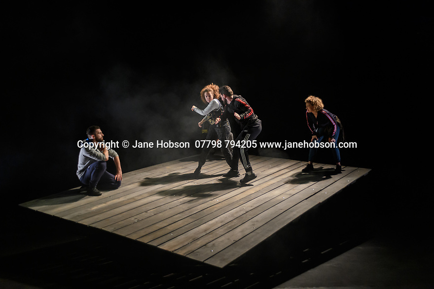 Edinburgh, UK. 30.07.2019. HOW NOT TO DROWN, by Nicola McCartney and Dritan Kastrati, opens at the Traverse Theatre, as part of the Edinburgh Festival Fringe. The director and choreographer is Neil Bettles, with design by Becky Minto, co-choreography by Jonnie Riordan, sound design by Alexandra Faye Braithwaite and lighting design by Zoe Spurr. The cast is: Ajjaz Awad, Esme Bayley, Daniel Cahill, Reuben Joseph, Dritan Kastrati. Photograph © Jane Hobson.