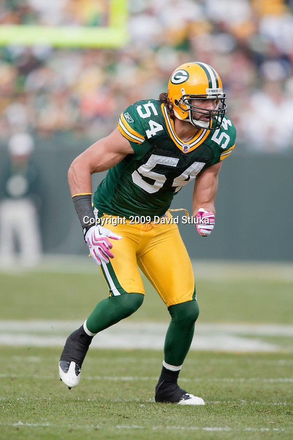 Green Bay Packers linebacker Brandon Chillar (54) plays defense during an NFL football game against the Detroit Lions at Lambeau Field in Green Bay, Wisconsin on Oct. 18, 2009. The Packers won the game 26-0. (AP Photo/David Stluka)