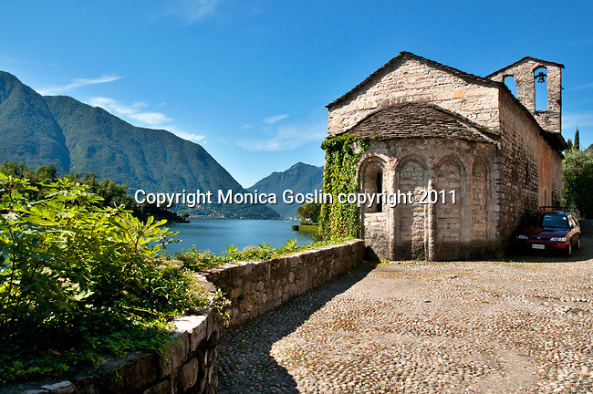 A small stone church in Sala Comacina, a town on Lake Como, Italy