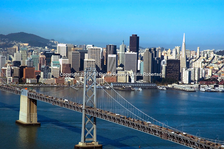 Aerial view of San Francisco Bay Bridge and Downtown Aerial view of Northern California