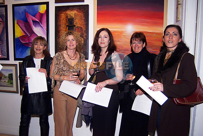 Marie McKeon,Barbar Pepper,Jackie Lorer,Patti Tivan and Cepta McDonnell at the Madame Le Worthy Art Exhibition at The Drogheda  Arts Centre, ..Pic Tony Campbell Newsfile