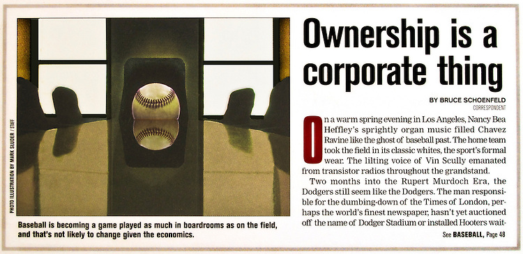 Photo Illustration for the trend toward Corporate Ownership of Professional Baseball teams..Concept Styling, Photograph by Mark Sluder.