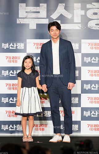 "Gong Yoo and Kim Soo-An, June 21, 2016 : South Korean actor Gong Yoo (R) and actress Kim Soo-An attend a press conference for their new movie,""Train to Busan"" in Seoul, South Korea. The zombie-action movie was filmed by recognized animator, Yeon Sang-ho and was premiered at Cannes Film Festival in the out of competition ""Midnight Screenings"" category this year. (Photo by Lee Jae-Won/AFLO) (SOUTH KOREA)"