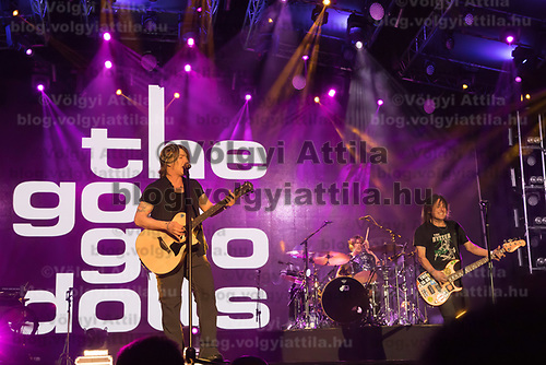 Lead vocalist and guitarist Johnny Rzeznik (L) and bass guitarist and vocalist Robby Takac (R) perform with American rock band Goo Goo Dolls (formerly known as Sex Maggot) at the A38 Stage of Sziget Festival held in Budapest, Hungary on Aug. 13, 2018. ATTILA VOLGYI