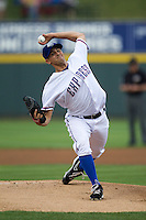 Round Rock pitcher Brad Mills (46) delivers a pitch to the plate in the Pacific Coast League baseball game against the Nashville Sounds on May 4, 2013 at the Dell Diamond in Round Rock, Texas. Round Rock defeated Nashville -6. (Andrew Woolley/Four Seam Images).