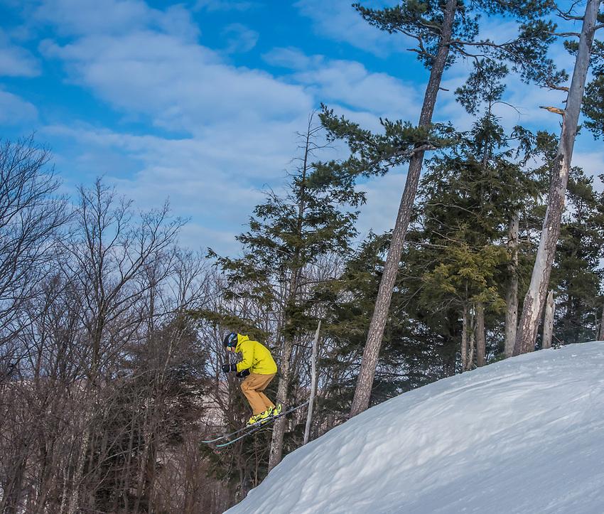 Skiing at Marquette Mountain Ski Area in Marquette, Michigan.