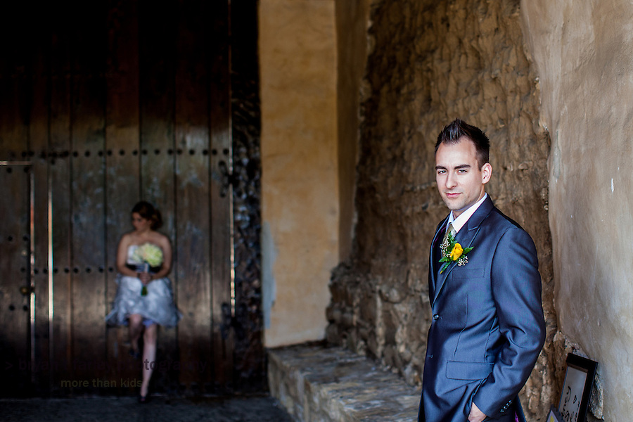 Courtney Stout and Nick Maksimowicz pose at the Carmel Mission on their wedding day. They were married in Carmel Valley, California on Saturday, December 10, 2011.