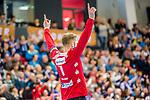 Siegerpose: Johannes Bitter (TVB Stuttgart #1) beim Spiel in der Handball Bundesliga, TVB 1898 Stuttgart - SC Magdeburg.<br /> <br /> Foto © PIX-Sportfotos *** Foto ist honorarpflichtig! *** Auf Anfrage in hoeherer Qualitaet/Aufloesung. Belegexemplar erbeten. Veroeffentlichung ausschliesslich fuer journalistisch-publizistische Zwecke. For editorial use only.