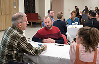"Final dinner/meeting for the Bringing Theory to Practice group, Jan. 22, 2018 in Lower Herrick. The group has had a series of dinners focused on the ""greater purposes of higher education"": learning & discovery, well-being, civic purpose, and living meaningfully in the world. The dinners have been hosted by facilitation teams composed of faculty members, student affairs professionals, and students, and regular attendees have included the Deans and leadership in Academic Affairs and Student Affairs, along with the members of the Student Affairs - Faculty Committee. The final dinner will be facilitated by the Deans, an opportunity for them to talk about what they learned from the community and ideas they have for programs, processes, etc. moving forward.<br /> (Photo by Marc Campos, Occidental College Photographer)"