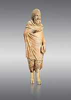 Marble statue of Pan found in Sparta, Pelopenese, 1st Cent AD copy of 4th Cent BC Greek original. Athens Archaeological Museum Cat No 252. Against grey<br /> <br /> Pan, the goat footed god wears an animal pelt from which protrude only his jhairy legs. In his left hand he is holding pan pipes. The expression on his bestial featured face is softened by a broad smile.
