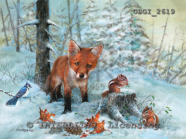 GIORDANO, CHRISTMAS ANIMALS, WEIHNACHTEN TIERE, NAVIDAD ANIMALES, paintings+++++,USGI2619,#XA#