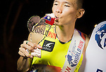 Male winner C. Su poses with the trophy at the Wings for Life World Run on May 2, 2015 in Yi-Lan, Taiwan. Photo by Victor Fraile / Power Sport Images