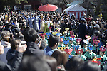TOKYO, JAPAN - FEBRUARY 3: Participants dressed in a traditional costumes parade in Zojoji Temple in Tokyo on Feb. 3, 2019 during the annual mamemaki or the bean-throwing ceremony. The ritual ceremony, observed at temples and shrines throughout the country, is believed by Japanese to drive out the demons of misfortune and it is considered as as the beginning of spring. (Photo: Richard Atrero de Guzman/Aflo)