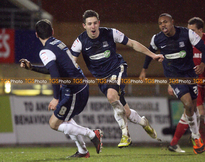 Ryan Leonard of Southend United celebrates scoring the opening goal - Leyton Orient vs Southend United at the Matchroom Stadium - 05/02/13 - MANDATORY CREDIT: Dave Simpson/TGSPHOTO - Self billing applies where appropriate - 0845 094 6026 - contact@tgsphoto.co.uk - NO UNPAID USE.