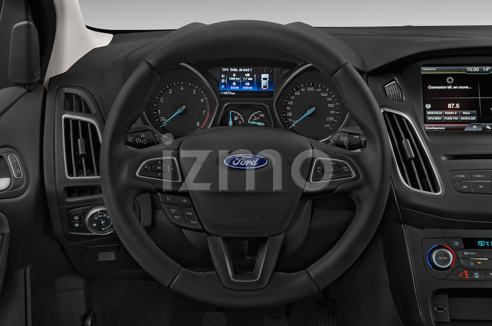 Car pictures of steering wheel view of a 2015 Ford Focus Titanium 5 Door Hatchback Steering Wheel
