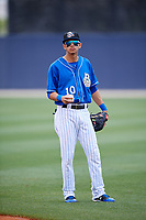 Biloxi Shuckers shortstop Mauricio Dubon (10) warms up before a game against the Jackson Generals on April 23, 2017 at MGM Park in Biloxi, Mississippi.  Biloxi defeated Jackson 3-2.  (Mike Janes/Four Seam Images)
