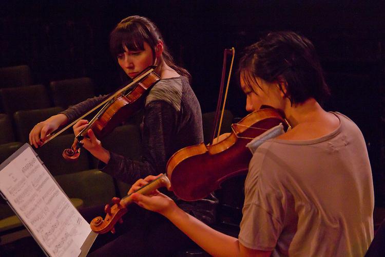 Port Townsend, Centrum, Chamber Music Workshop, June 16-21 2015, Fort Worden, musicians teaching workshop artists, Quartet Elektra, Annika Bryann-Lascara Jenkins, violin, Jocelyn Zhu, violin, (light blouse)