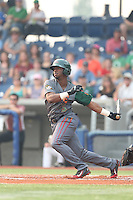 Terry McClure (5) of the Boise Hawks bats during a game against the Hillsboro Hops at Ron Tonkin Field on August 22, 2015 in Hillsboro, Oregon. Boise defeated Hillsboro, 6-4. (Larry Goren/Four Seam Images)