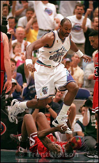 NBA Finals game 3, Utah Jazz vs. Chicago Bulls. karl malone steps on dennis rodman<br />