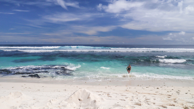 """A tropical paradise, as idyllic as it looks:  the beautiful blue water and white sands of """"Return to Paradise Beach,"""" named after the 1953 Gary Cooper movie that was filmed here. We saw only one other person in two hours here--our definition of paradise!"""