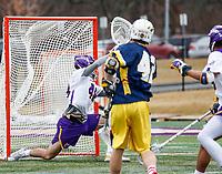University at Albany Men's Lacrosse defeats Drexel 18-5 on Feb. 24 at Casey Stadium. Drexel #42, Christopher McLallen scores. (Photo by Bruce Dudek / Cal Sport Media/Eclipse Sportswire)