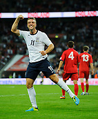 06.09.2013 London, England. England Forward Rickie Lambert (Southampton) celebrates scoring his sides 2nd goal during the first half of the 2014 FIFA World Cup Qualifier between England and Moldova at Wembley Stadium.