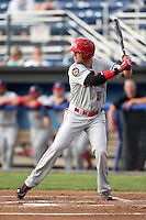 Auburn Doubledays outfielder Drew Vettleson (5), on rehab assignment, at bat during a game against the Batavia Muckdogs on June 16, 2014 at Dwyer Stadium in Batavia, New York.  Batavia defeated Auburn 4-3.  (Mike Janes/Four Seam Images)