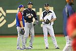 (L-R)<br /> Tsuyoshi Wada (Cubs), <br /> Hisashi Iwakuma (Mariners), <br /> Seiichi Uchikawa (JPN),<br /> NOVEMBER 15, 2014 - Baseball : <br /> 2014 All Star Series Game 3 between Japan 4-0 MLB All Stars <br /> at Tokyo Dome in Tokyo, Japan. <br /> (Photo by Shingo Ito/AFLO SPORT)[1195]