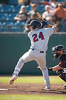 Lancaster JetHawks third baseman Colton Welker (24) at bat during a California League game against the San Jose Giants at San Jose Municipal Stadium on May 12, 2018 in San Jose, California. Lancaster defeated San Jose 7-6. (Zachary Lucy/Four Seam Images)