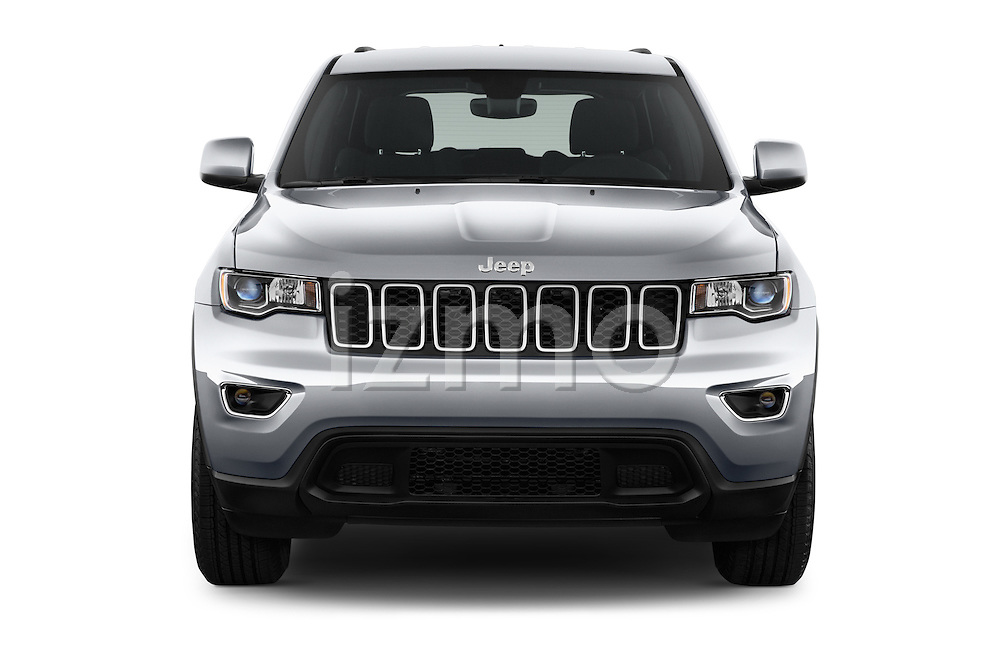 Car photography straight front view of a 2017 JEEP Grand-Cherokee Laredo 5 Door SUV Front View