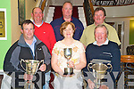 Pictured at the prize giving ceremony after the annual Lough Le?in Anglers competition, in the Dromhall hotel, on Sunday night were Liam Buckley, on behalf of his brother Jerry, overall winner, Margaret Doyle, lady angler of the year, Padraic Coughlan, best boat, Timmy O'Connor, Guy Buxton, also best boat, and Pat Doyle.