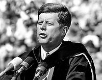 President John F. Kennedy speaking University of California Charter Day,.Mar 23,1962,(photo/Ron Riesterer)