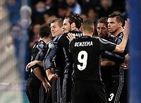 Football Soccer: UEFA Champions League Round of 16 second leg, Napoli-Real Madrid, San Paolo stadium, Naples, Italy, March 7, 2017. <br /> Real Madrid's Sergio Ramos celebrates with his teammates after scoring during the Champions League football soccer match between Napoli and Real Madrid at the San Paolo stadium, 7 March 2017. <br /> Real Madrid won 3-1 to reach the quarter-finals.<br /> UPDATE IMAGES PRESS/Isabella Bonotto