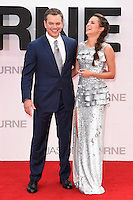 "Matt Damon and Alica Vikander<br /> arrives for the ""Jason Bourne"" premiere at the Odeon Leicester Square, London.<br /> <br /> <br /> ©Ash Knotek  D3139  11/07/2016"