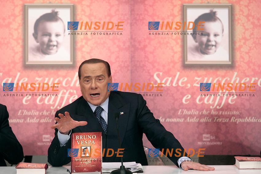 Silvio Berlusconi <br /> Roma 04-12-2013 Tempio do Adriano. Presentazione del libro 'Sale, zucchero e caff&egrave;'<br /> Photo Samantha Zucchi Insidefoto