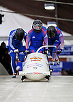 22 November 2009:  Dmitry Abramovitch, piloting the Russia 1 bobsled, leads his 4-man team to a 16th place finish at the FIBT World Cup competition, in Lake Placid, New York, USA. Mandatory Credit: Ed Wolfstein Photo