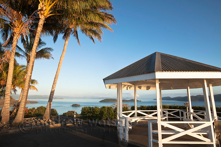 Pavilion at One Tree Hill overlooking the Whitsunday Islands.  Hamilton Island, Whitsundays, Queensland, Australia