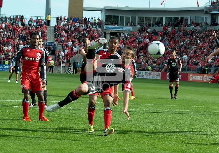 05 May 2012: D.C. United forward Hamdi Salihi #9 scores the second goal for D.C. United during an MLS game between DC United and Toronto FC at BMO Field in Toronto..D.C. United won 2-0.