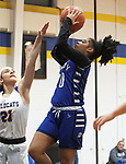 SEYMOUR CT. - 17 January 2020-011720SV08-#10 Aniyah Watson of Crosby High puts up a shot over #21 Morgan Teodosio of Seymour High during basketball action in Seymour Friday.<br /> Steven Valenti Republican-American